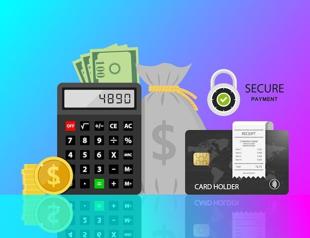 Pagare bollette e tasse fatture carte di credito e calcolatrice finanza domestica e tasse