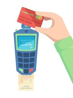 Terminale per carte di pagamento. mano che tiene la carta di debito con la macchina di pagamento per il trasferimento di denaro del modulo nfc per un facile concetto di vettore di checkout. la carta per il trasferimento di denaro usa nfc, illustrazione contactless del dispositivo di pagamento
