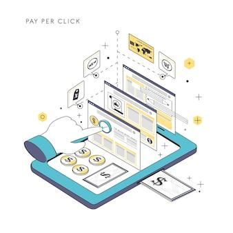 Pay per click illustrazione del concetto in stile linea sottile
