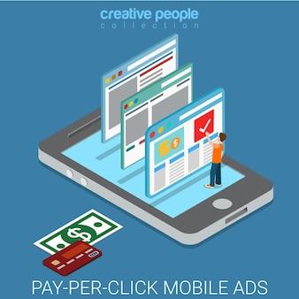 Pay-per-click flat isometrico