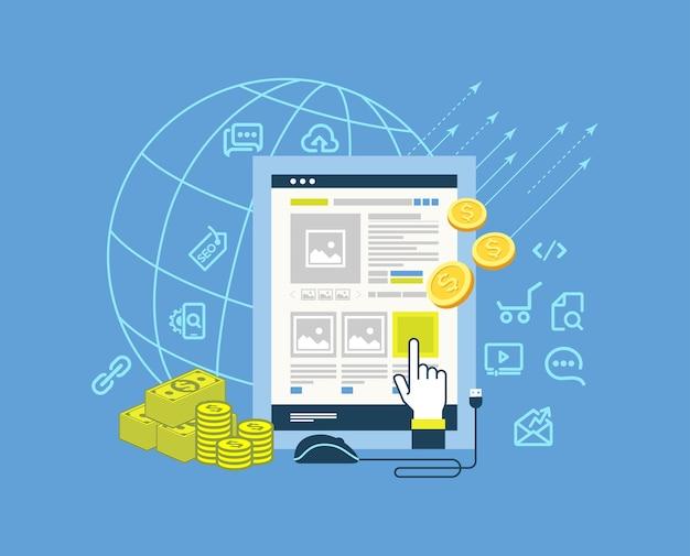 Pay-per-clic moderno design piatto illustrazione