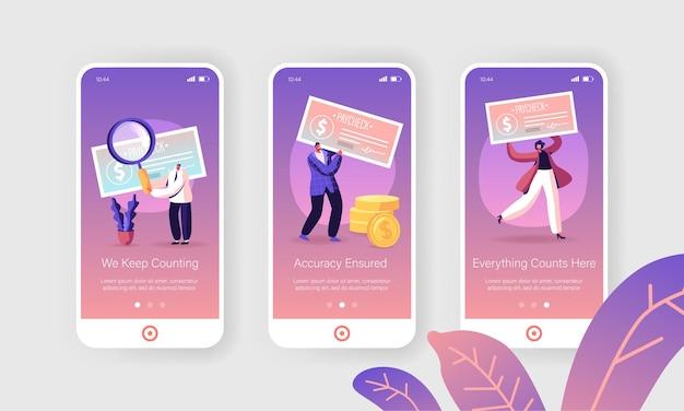 Set schermo a bordo pagina app per dispositivi mobili con stipendio in contanti