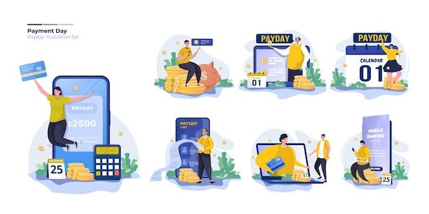 Set di illustrazioni di affari di giorno di paga