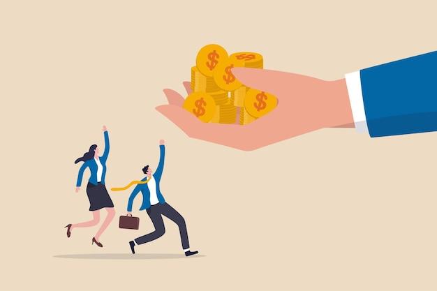 Giorno di paga, denaro bonus per i dipendenti, stipendio o reddito, mano del capo gigante che dà soldi ai lavoratori felici.
