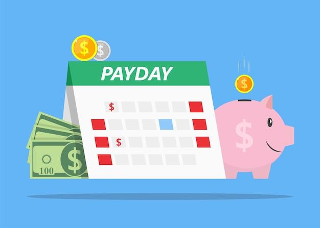 Illustrazione di stipendio mensile di prestiti con anticipo sullo stipendio