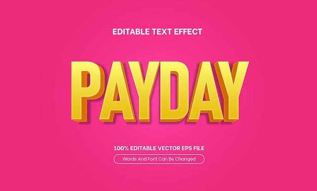Effetto di testo modificabile rosa giallo 3d di vendita di giorno di paga
