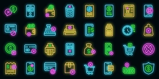 Icone di annullamento del pagamento impostate vettore neon