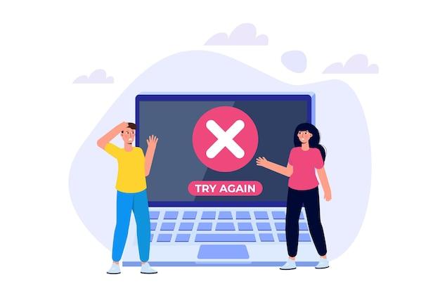 Messaggio informativo sull'errore di pagamento sullo smartphone. errore nei contrassegni incrociati del cliente. illustrazione vettoriale.