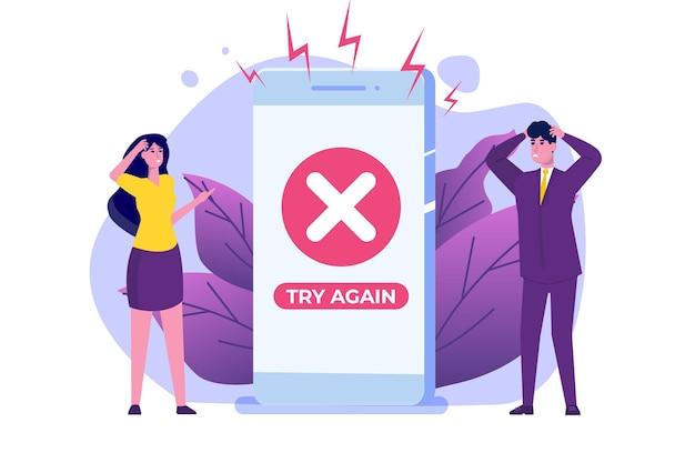 Messaggio informativo sull'errore di pagamento sullo smartphone. errore dei segni di croce del cliente.
