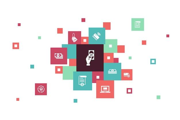 Infografica di pagamento 10 passaggi pixel design. fattura, denaro, fattura, icone semplici di sconto
