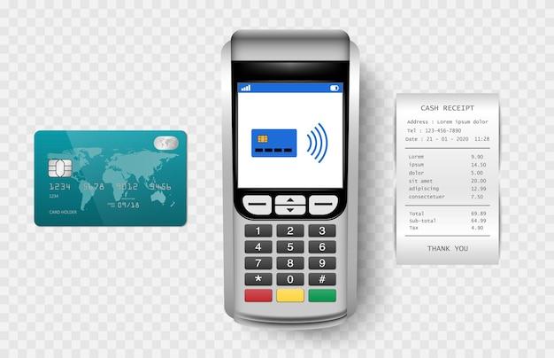 Terminale post della macchina di pagamento con ricevuta di contanti e carta di credito isolata su sfondo trasparente
