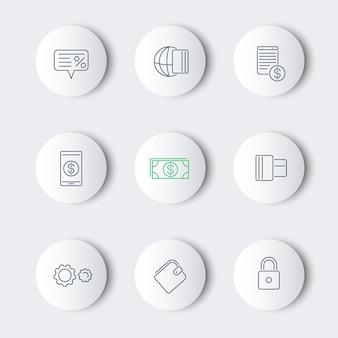 Metodi di pagamento, linea di tipi intorno a icone moderne