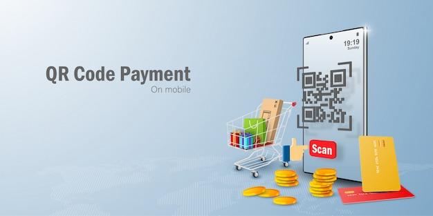 Pagamento su dispositivo mobile, scansione del codice qr su dispositivo mobile, pagamento e verifica