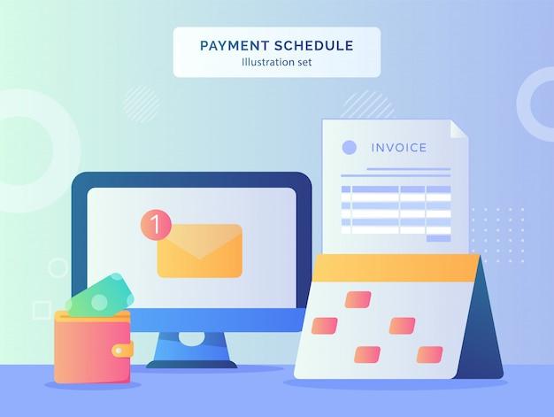 L'illustrazione del programma di pagamento ha fissato il calendario con la data dell'indicatore dei soldi di carta della fattura messi nel portafoglio
