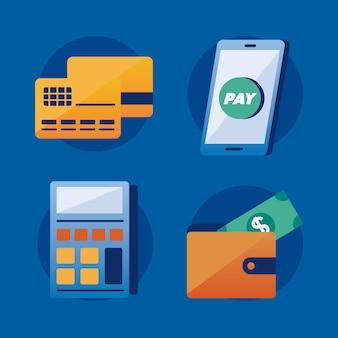 Set di icone di soluzioni di pagamento