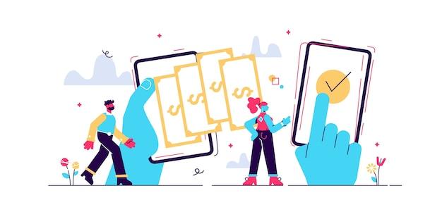 Trasferimento di pagamento, illustrazioni di persone minuscole. operazioni di portafoglio digitale tra pari. processo di transazione di denaro stilizzato. aggiunta di fondi e ricarica del conto bancario personale