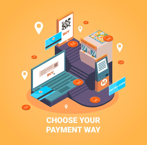 Modalità di pagamento con illustrazione isometrica di simboli di pagamento online