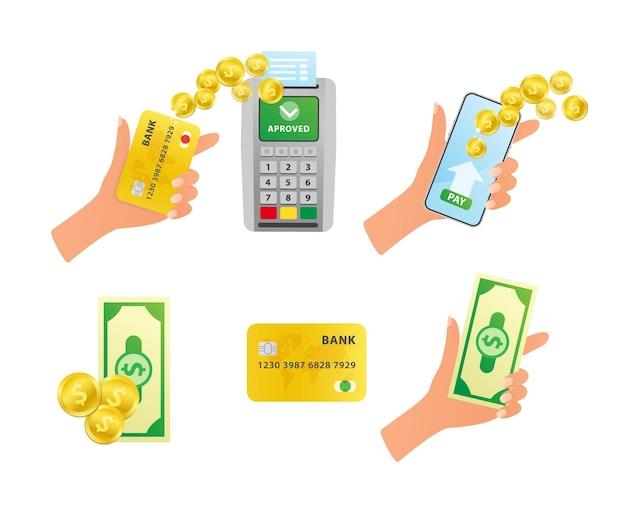 Concetto di pagamento metodo di pagamento e opzione per trasferire denaro