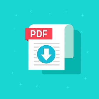Fumetto piano di simbolo di vettore dell'icona di download pdf