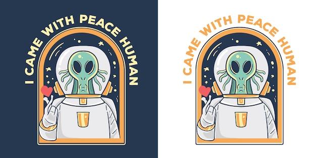 Illustrazione aliena di pace.