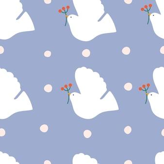 Peace dove seamless pattern design per avvolgere carta da parati o sfondo con stampa tessile