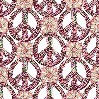 Pattern di pace. priorità bassa del doodle creativo. struttura senza saldatura vettoriale di hippie.