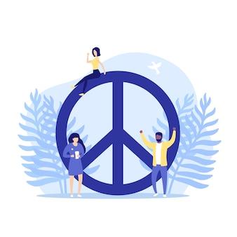 Segno di pace e persone, illustrazione vettoriale