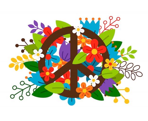 Simbolo di pace con fiori su sfondo bianco.