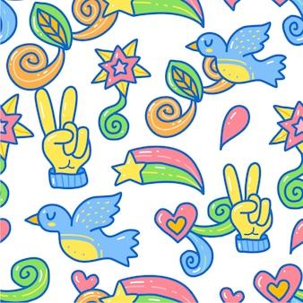Modello di simboli di pace. stile doodle disegnato a mano