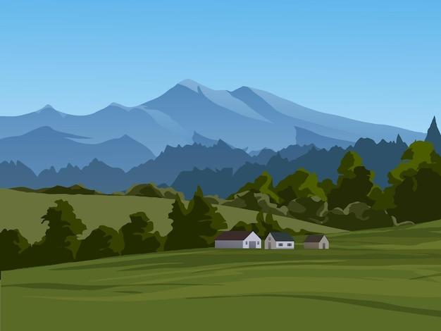 Tranquillo paesaggio di campagna con montagne e case
