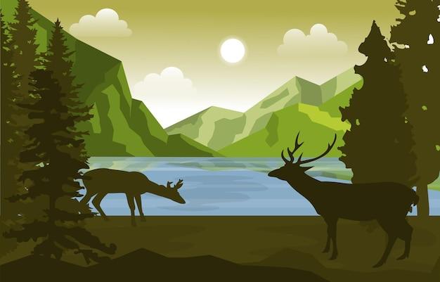 Illustrazione del paesaggio della natura degli alberi di pino dei cervi del lago di montagna pacifica