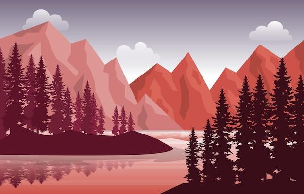 Peaceful mountain lake river pine tree nature landscape illustration