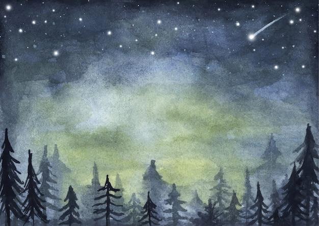 Tranquilla foresta di abeti rossi sotto il cielo notturno pieno di stelle. paesaggio forestale di nebbia. illustrazione dell'acquerello.