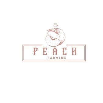 Logo vintage del negozio di frutta pesca peach