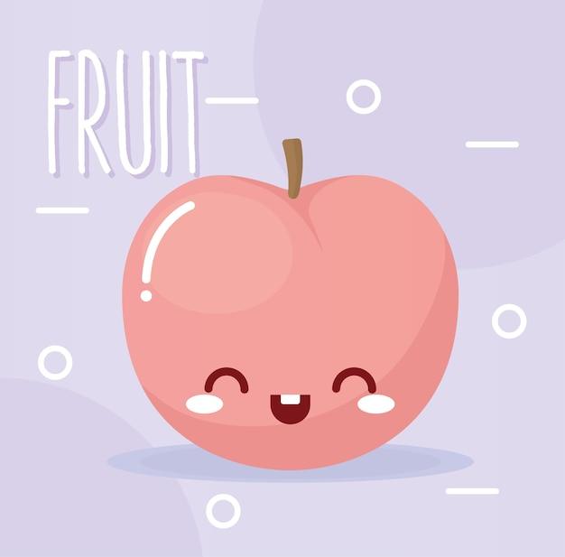 Frutta kawaii di pesche con un sorriso con scritte di frutta su illustrazione viola ligth