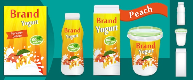 Peach yogurt packaging design o annunci