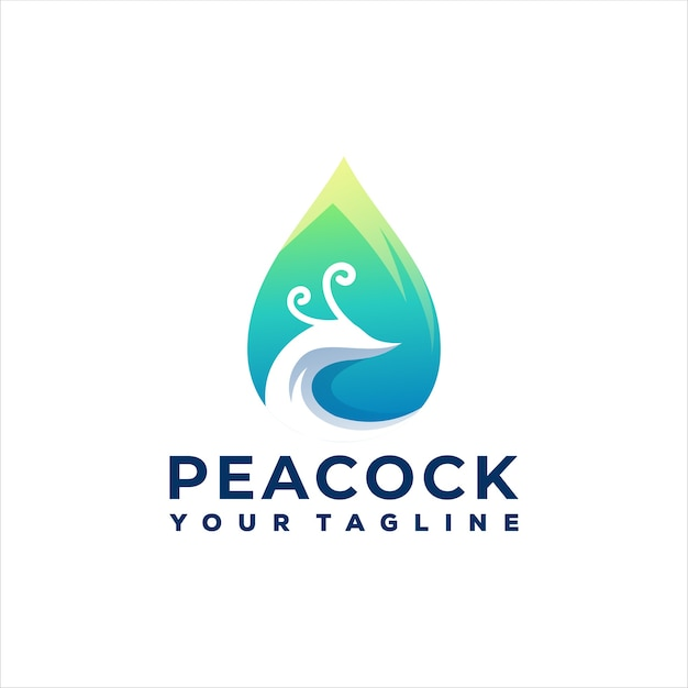 Design del logo sfumato di colore pavone