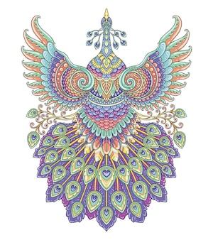 Disegno di mandala colorato pavone