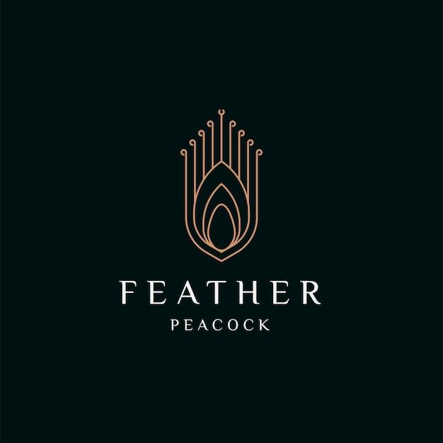 Piuma di pavone elegante colore oro icona logo design modello piatto illustrazione vettoriale