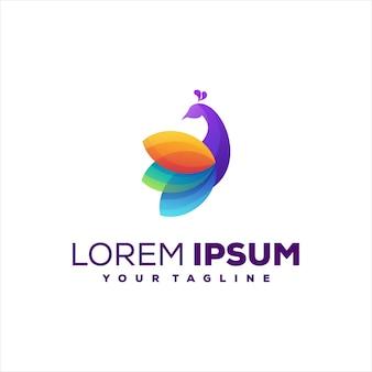 Design del logo a colori sfumati di pavone