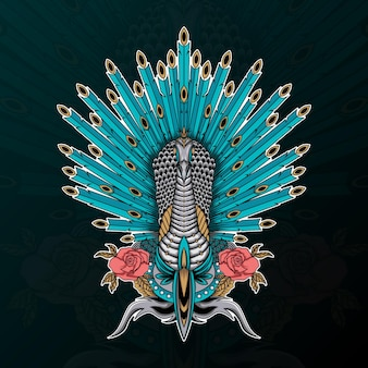Pavone con fiore e illustrazione di ornamento zentangle