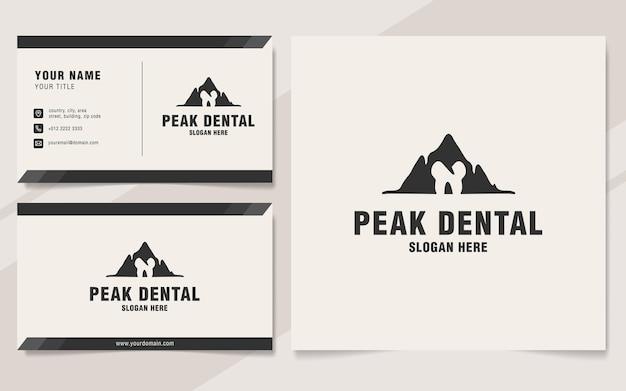 Modello di logo dentale di picco sullo stile del monogramma