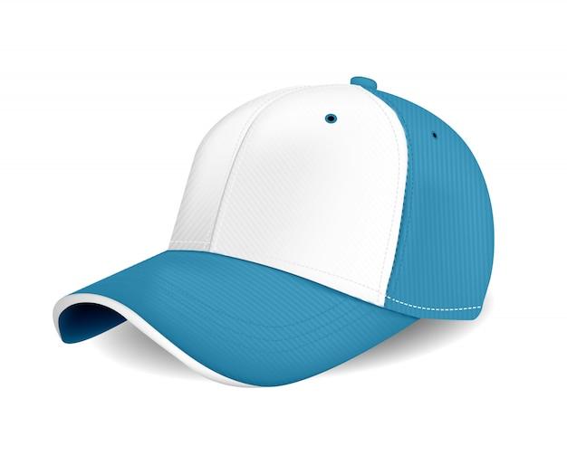 Berretto con visiera di colore blu per pubblicità o stampa su sfondo bianco