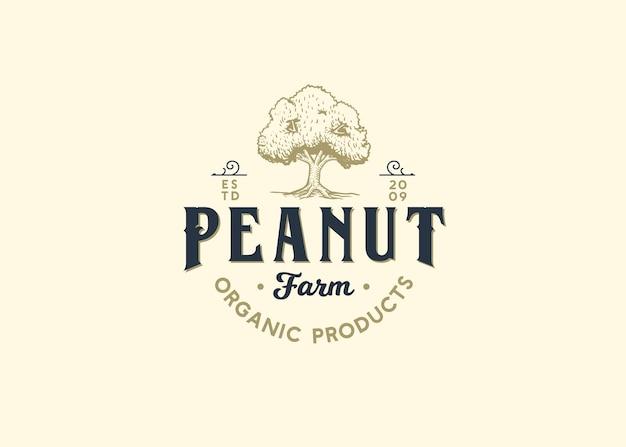 Peanut farm shop logo illustrazione alberi dado