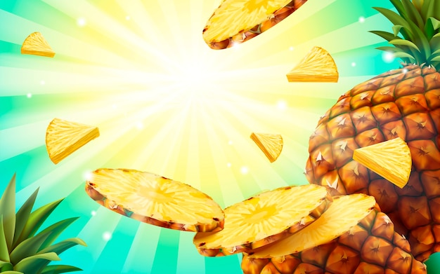 Sfondo di ananas, carta da parati di frutta in stile estivo polpa di ananas volante e motivo a strisce
