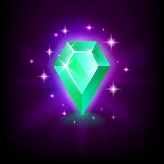 Gemma brillante smeraldo verde pera con bagliore magico e stelle su sfondo scuro