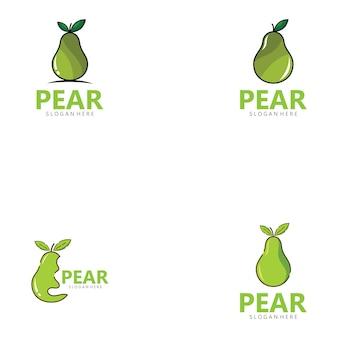 Icona del design dell'illustrazione delle immagini del logo della pera