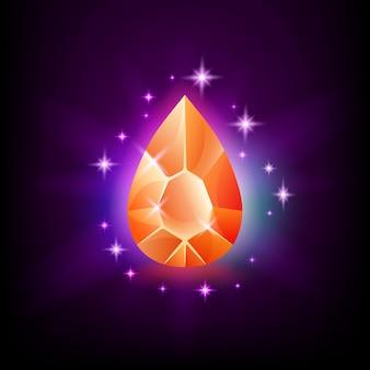 Gemma brillante arancione pera con bagliore magico e stelle su sfondo scuro