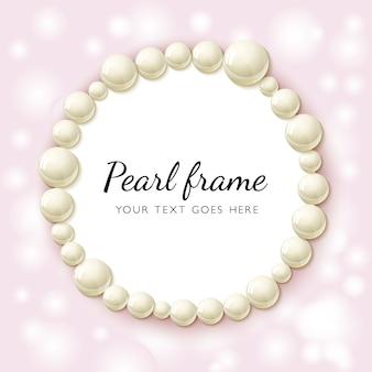 Perline perla cornice rotonda su sfondo rosa bokeh.