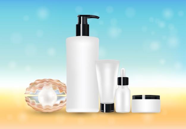 Perla e tubo cosmetico di bellezza con sfocatura sfondo mare
